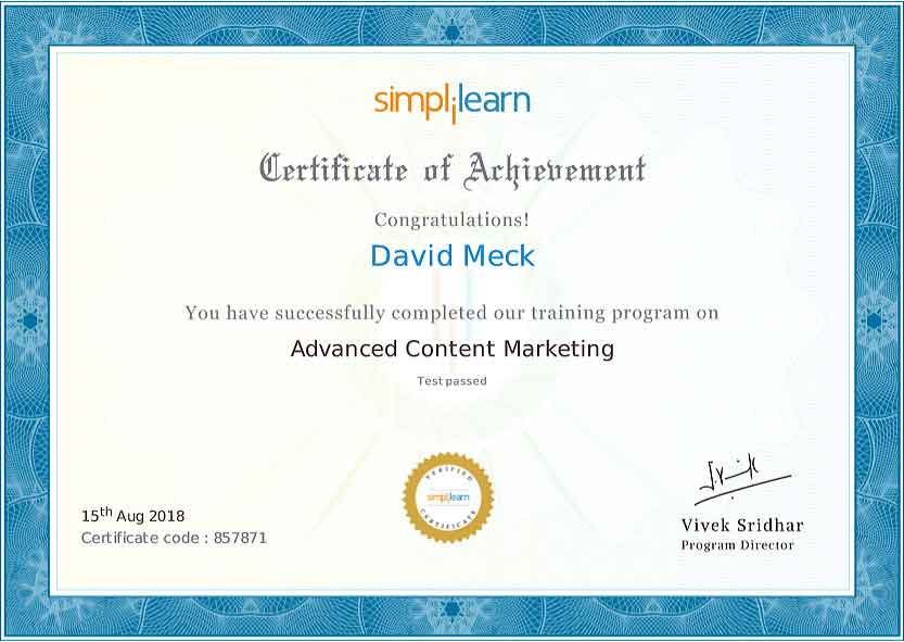 David Meck Advanced Content Marketing Certification