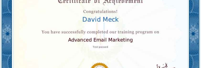 David Meck Advanced Email Marketing Certification