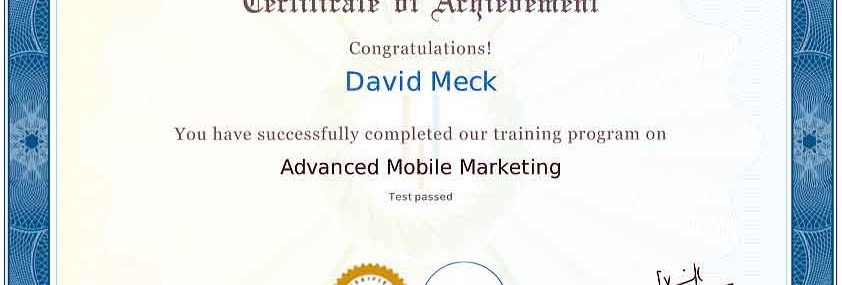 David Meck Advanced Mobile Marketing Certification