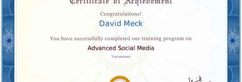 David Meck Advanced Social Media Certification
