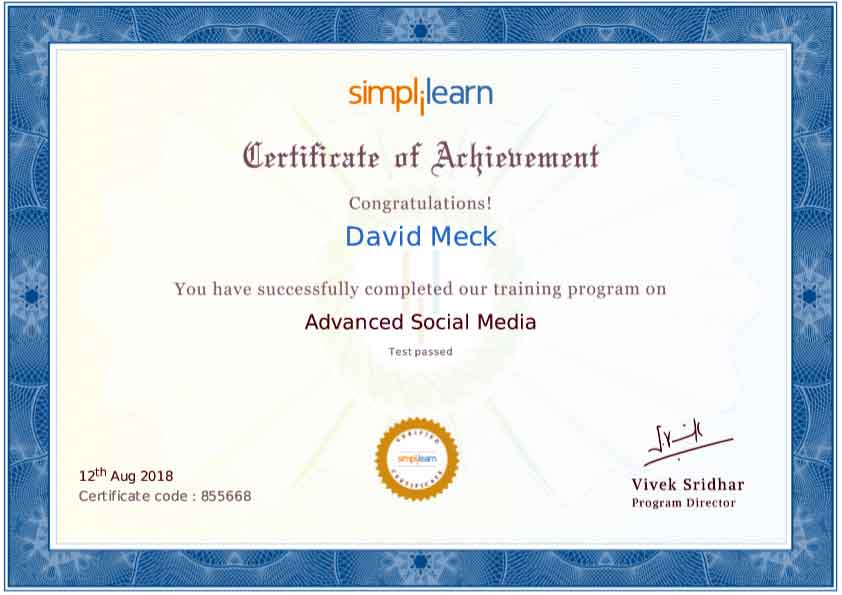 David Meck Advanced Social Media Certification