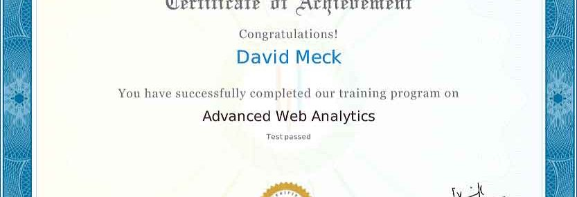 David Meck Advanced Web Analytics Certification