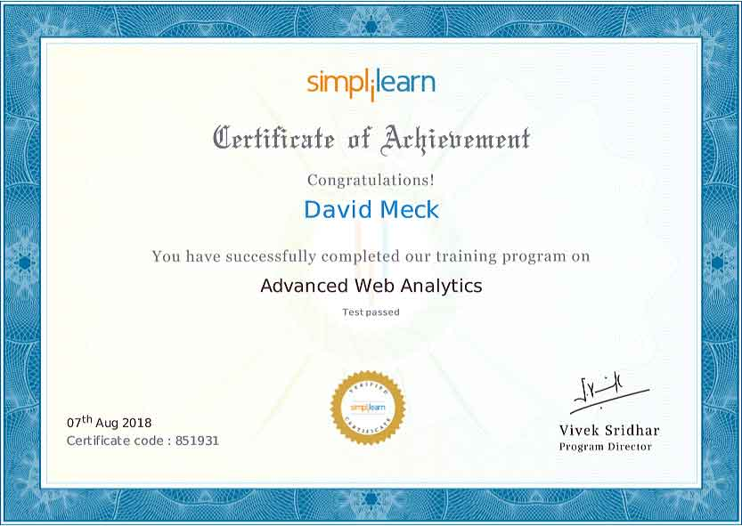 David Meck Advanced Web Analytics Certification