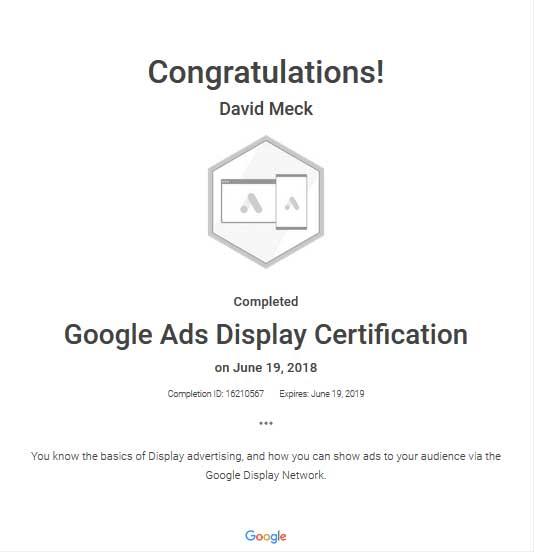 David Meck Display Certification