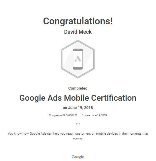 David Meck Google Ads Mobile Certification