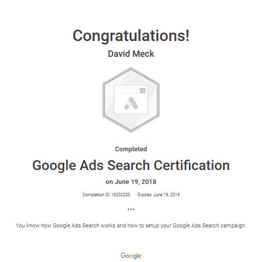 David Meck Google Ads Search Certification