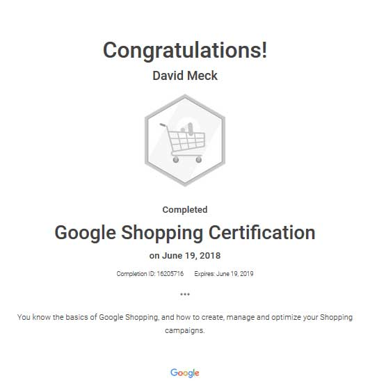 David Meck Google Ads Shopping Certification