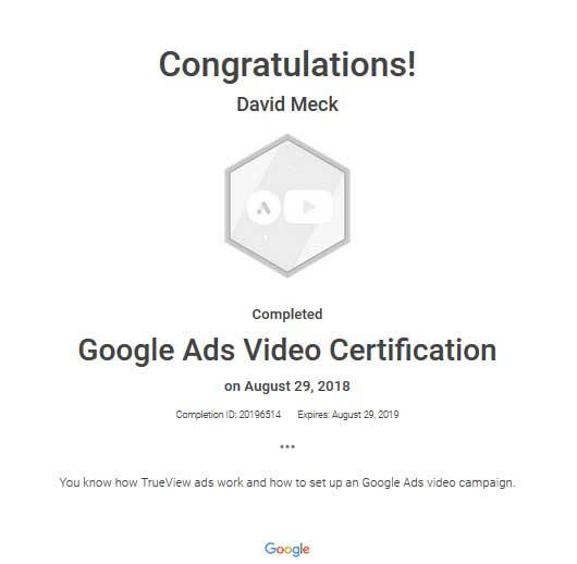 David Meck Google Ads Video Certification