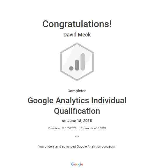 David Meck Google Analytics Individual Qualifications