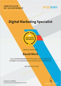 Master Digital Marketing Specialist Certification - David Meck