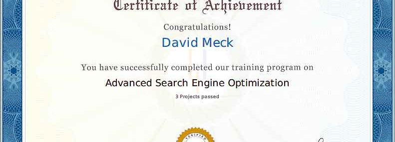 Advanced SEO Certification Masters Program - David Meck