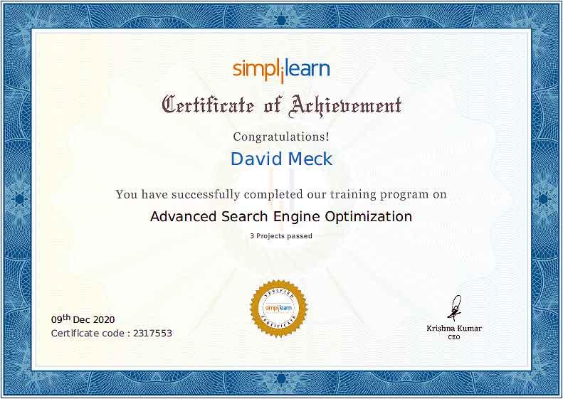 Advanced Search Engine Optimization Certification David Meck
