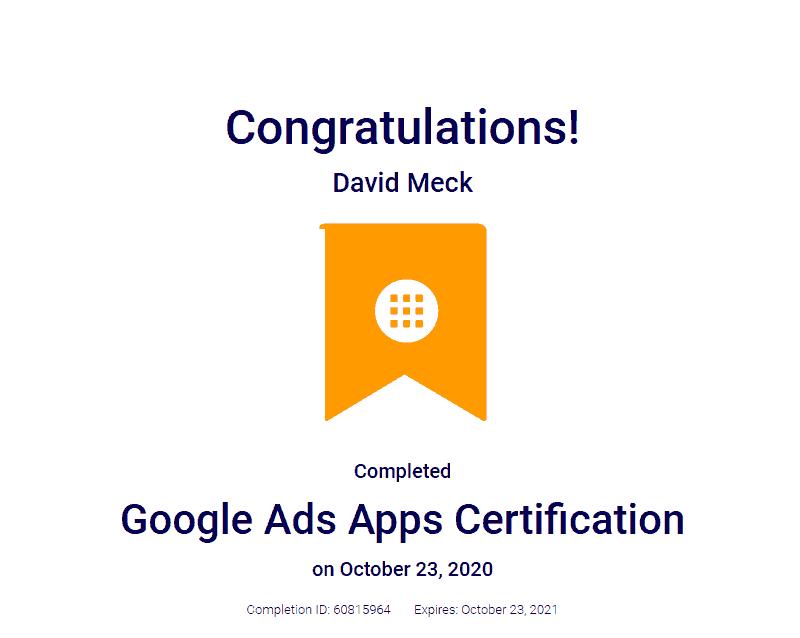 Google Ads App Certification David Meck