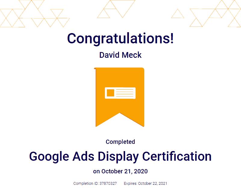 Google Ads Display Advertising Certification David Meck