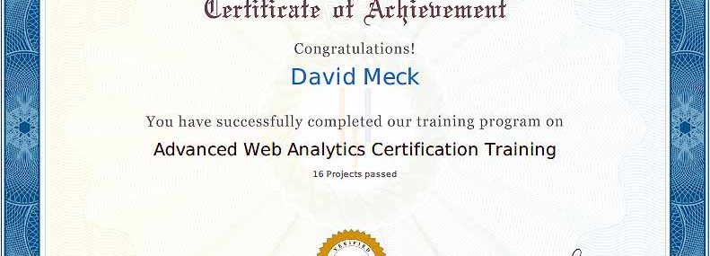 Advanced Web Analytics Certification - Masters Program
