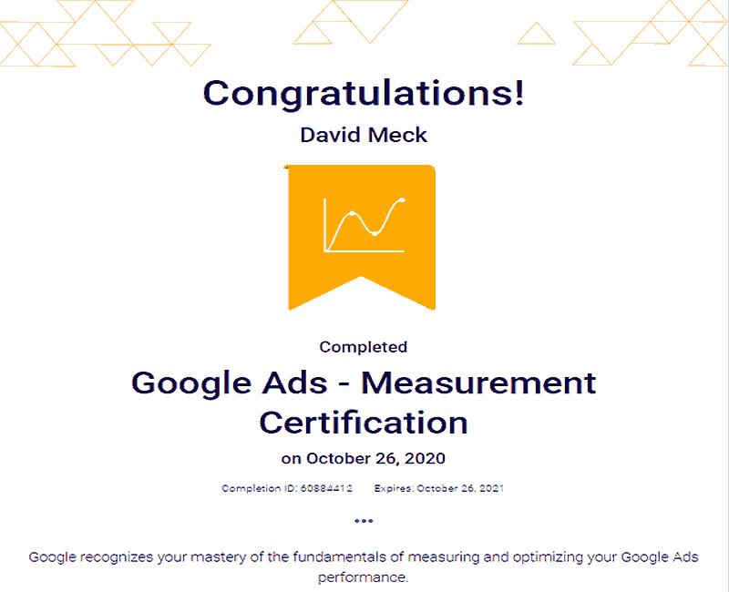 Google Ads Measurement Certification David Meck