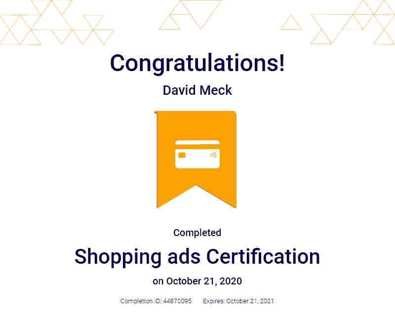 Google Ads Shopping Certification David Meck