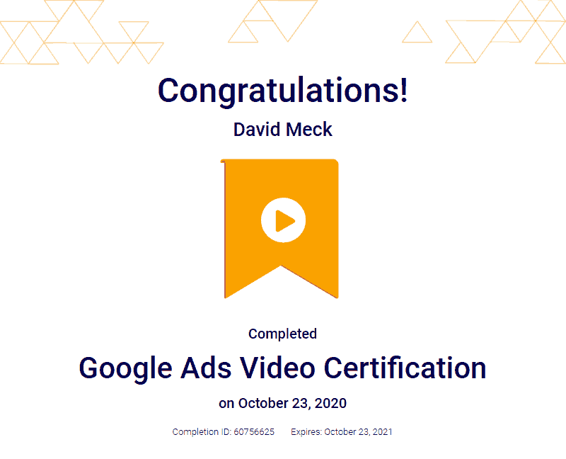 YouTube Advertising Certification David Meck